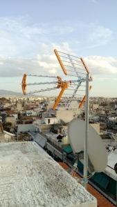 Εγκατάσταση κεντρικής κεραίας τηλεόρασης 6όροφης πολυκατοικίας - Πειραιάς